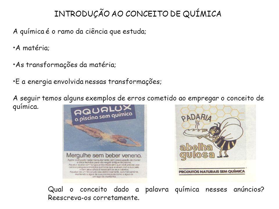 INTRODUÇÃO AO CONCEITO DE QUÍMICA