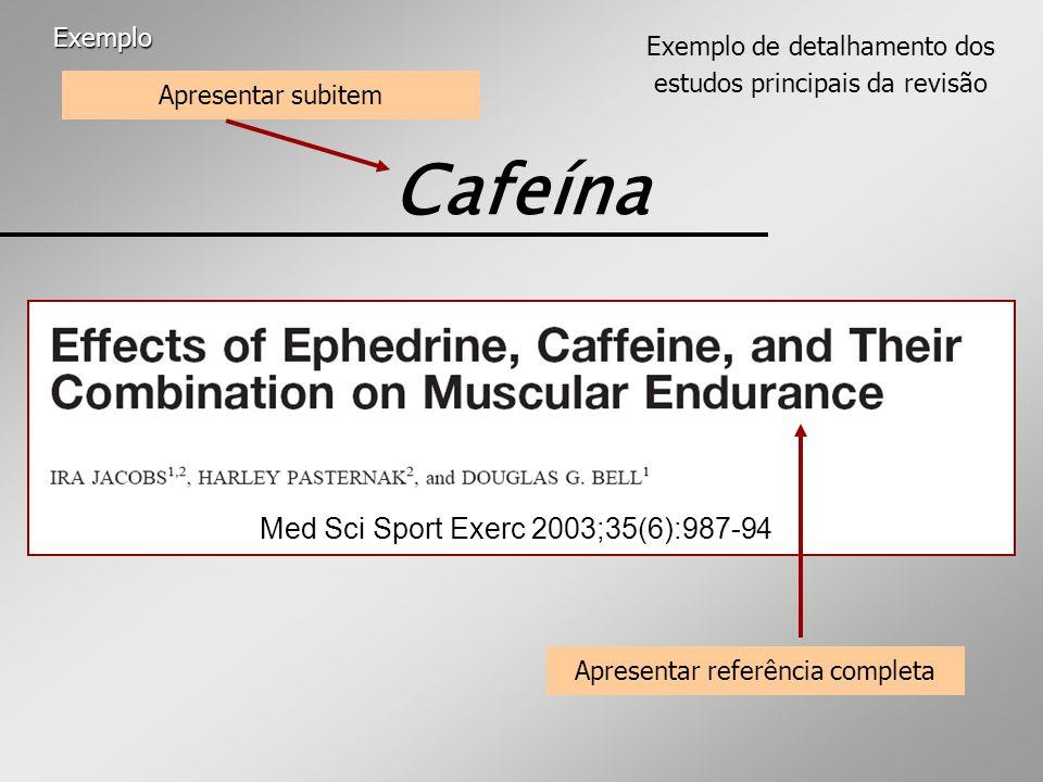 Cafeína Med Sci Sport Exerc 2003;35(6):987-94 Exemplo