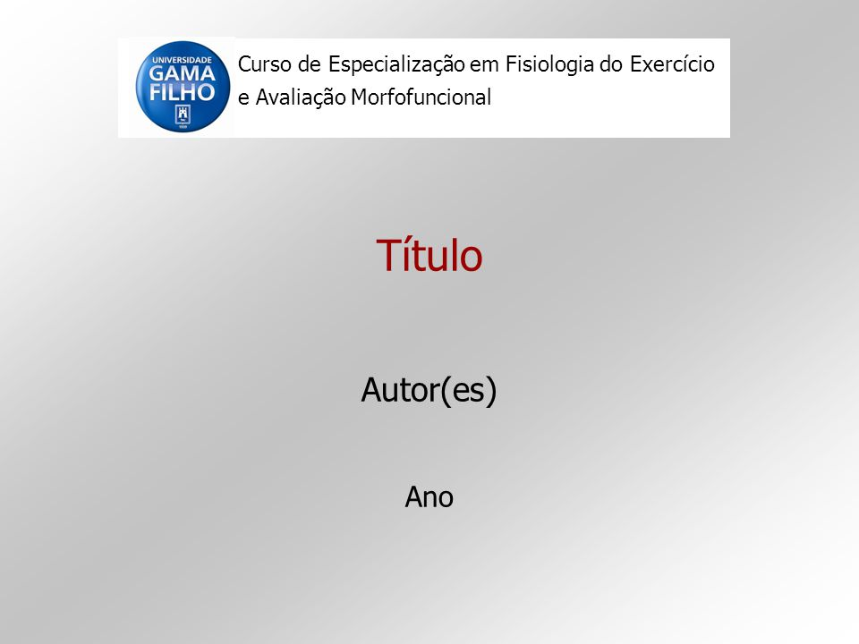 Curso de Especialização em Fisiologia do Exercício e Avaliação Morfofuncional