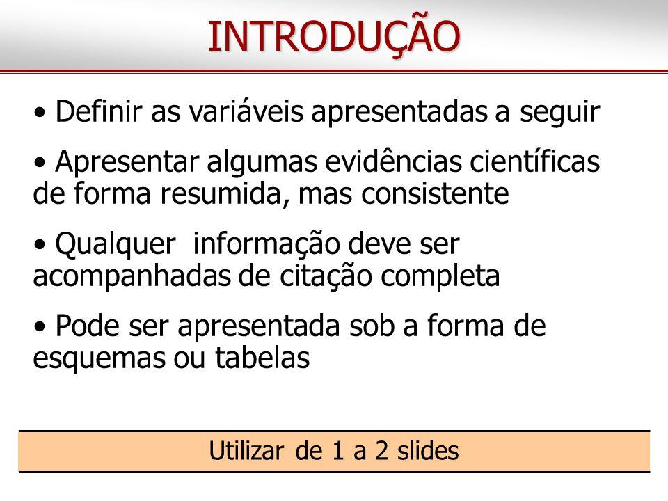 INTRODUÇÃO Introdução Definir as variáveis apresentadas a seguir