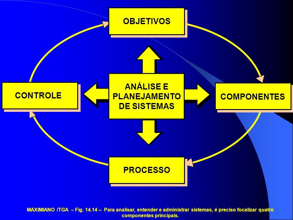 OBJETIVOS ANÁLISE E PLANEJAMENTO CONTROLE DE SISTEMAS COMPONENTES
