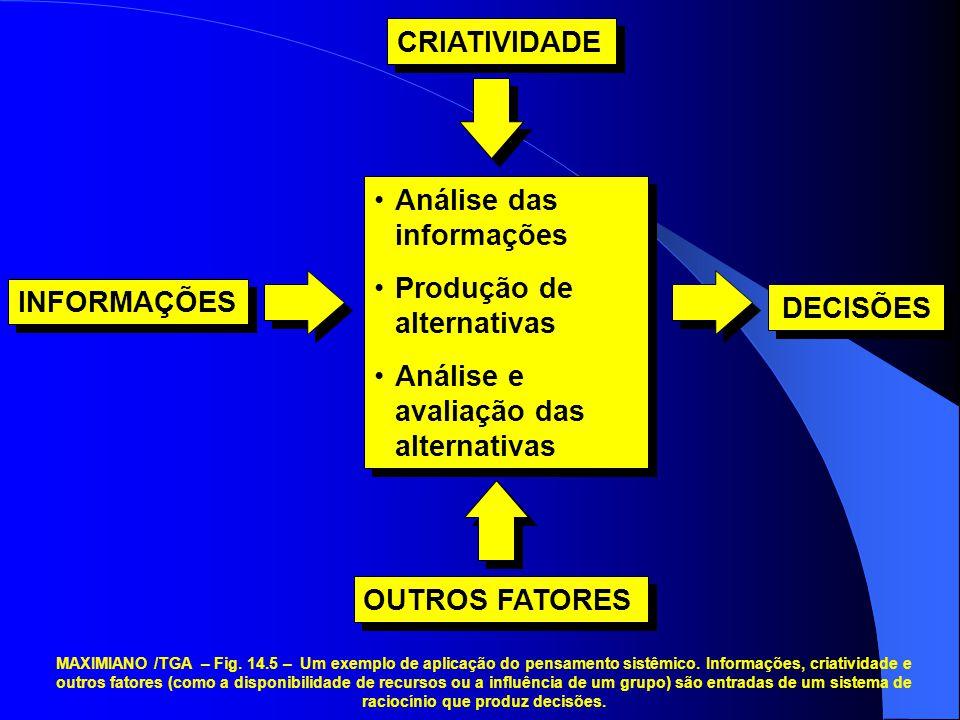 Análise das informações Produção de alternativas