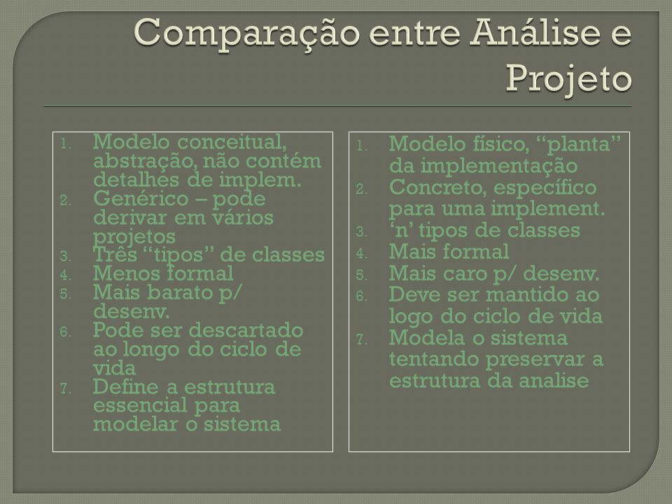 Comparação entre Análise e Projeto