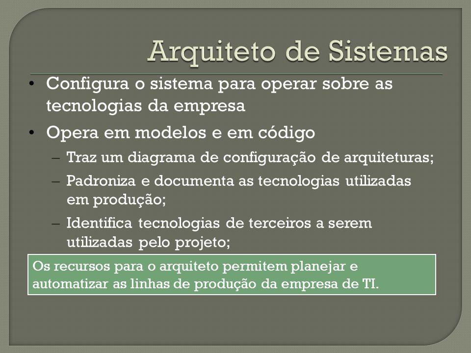Arquiteto de Sistemas Configura o sistema para operar sobre as tecnologias da empresa. Opera em modelos e em código.