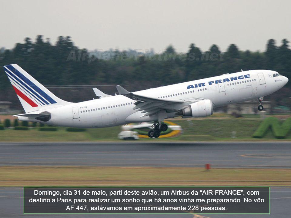 Domingo, dia 31 de maio, parti deste avião, um Airbus da AIR FRANCE , com destino a Paris para realizar um sonho que há anos vinha me preparando.