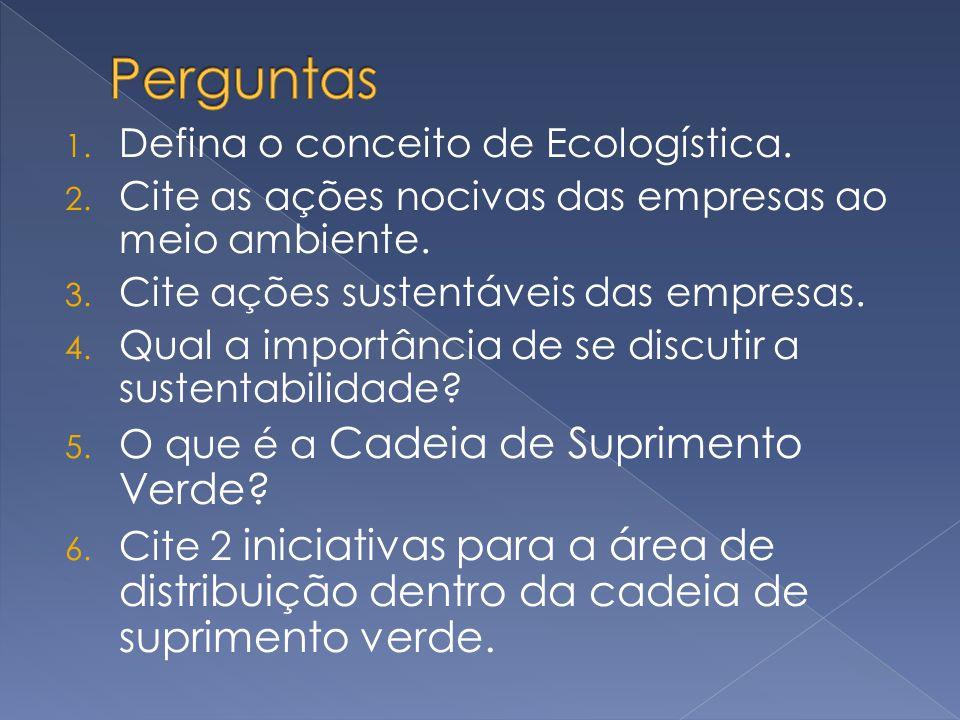 Perguntas Defina o conceito de Ecologística.