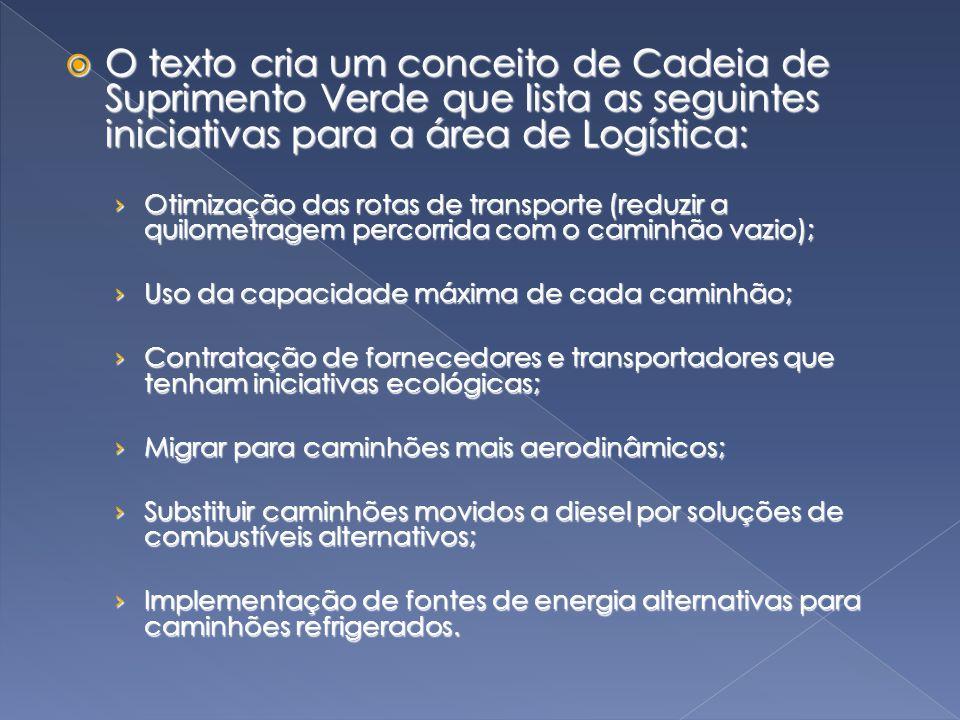 O texto cria um conceito de Cadeia de Suprimento Verde que lista as seguintes iniciativas para a área de Logística: