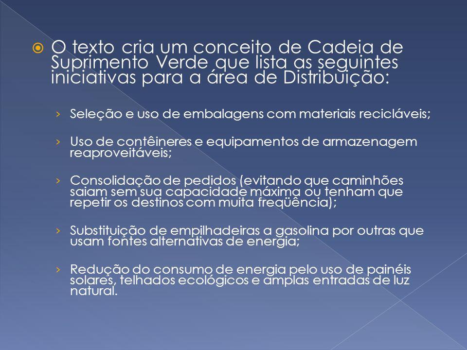 O texto cria um conceito de Cadeia de Suprimento Verde que lista as seguintes iniciativas para a área de Distribuição: