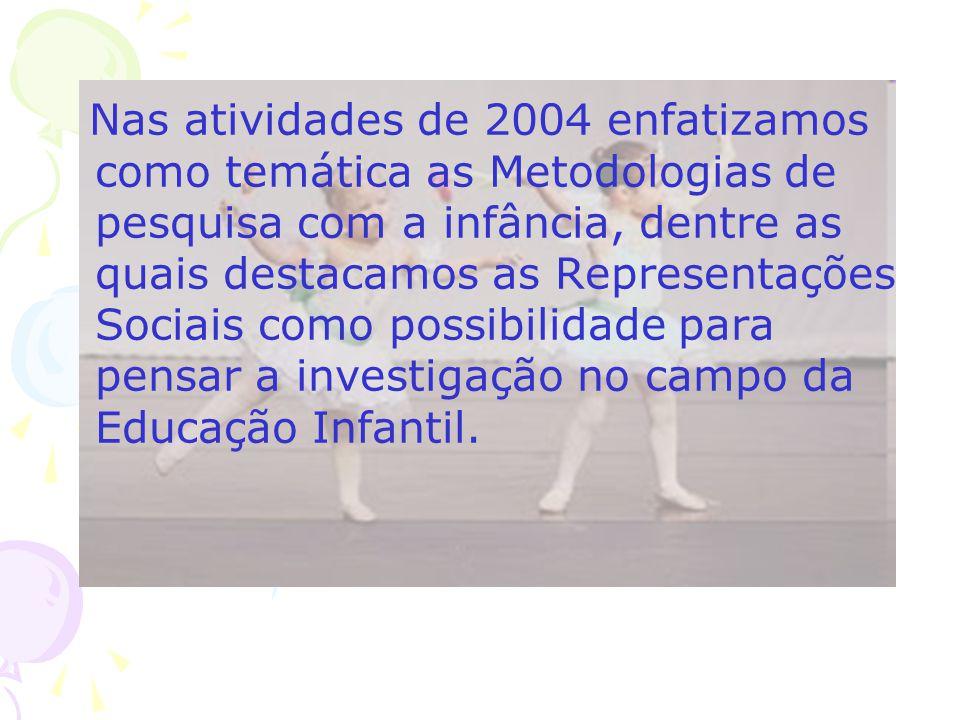 Nas atividades de 2004 enfatizamos como temática as Metodologias de pesquisa com a infância, dentre as quais destacamos as Representações Sociais como possibilidade para pensar a investigação no campo da Educação Infantil.