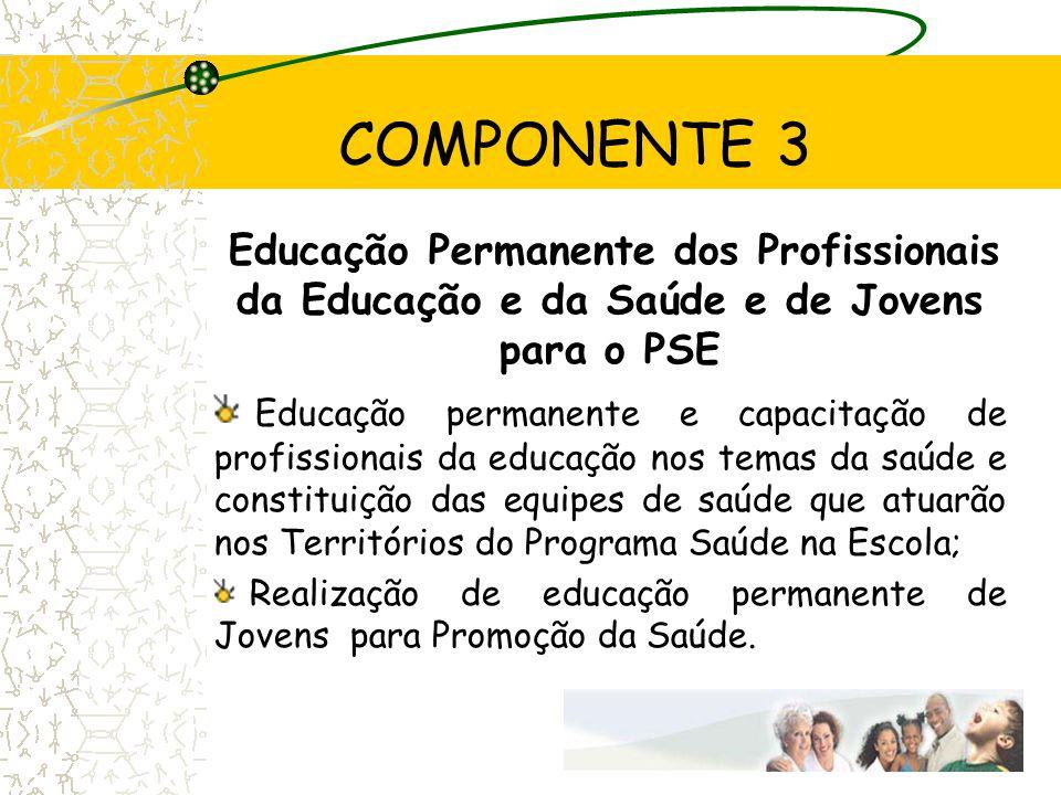 COMPONENTE 3 Educação Permanente dos Profissionais da Educação e da Saúde e de Jovens para o PSE.