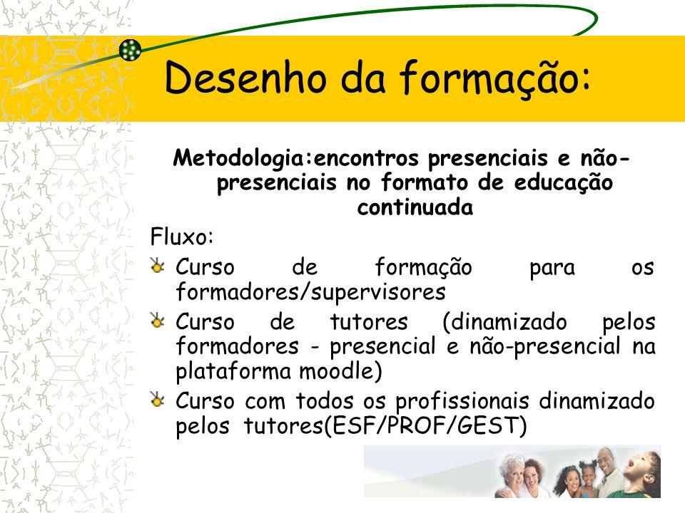 Desenho da formação: Metodologia:encontros presenciais e não-presenciais no formato de educação continuada.