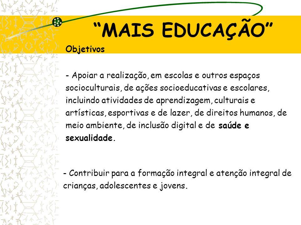 MAIS EDUCAÇÃO Objetivos