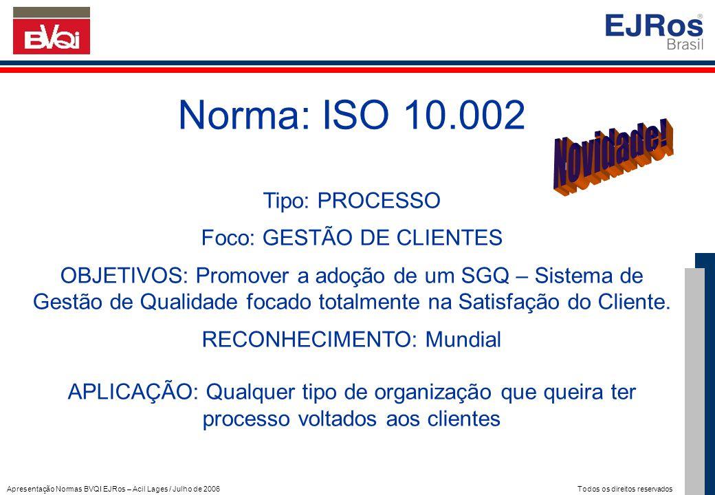 Norma: ISO 10.002 Novidade! Tipo: PROCESSO Foco: GESTÃO DE CLIENTES