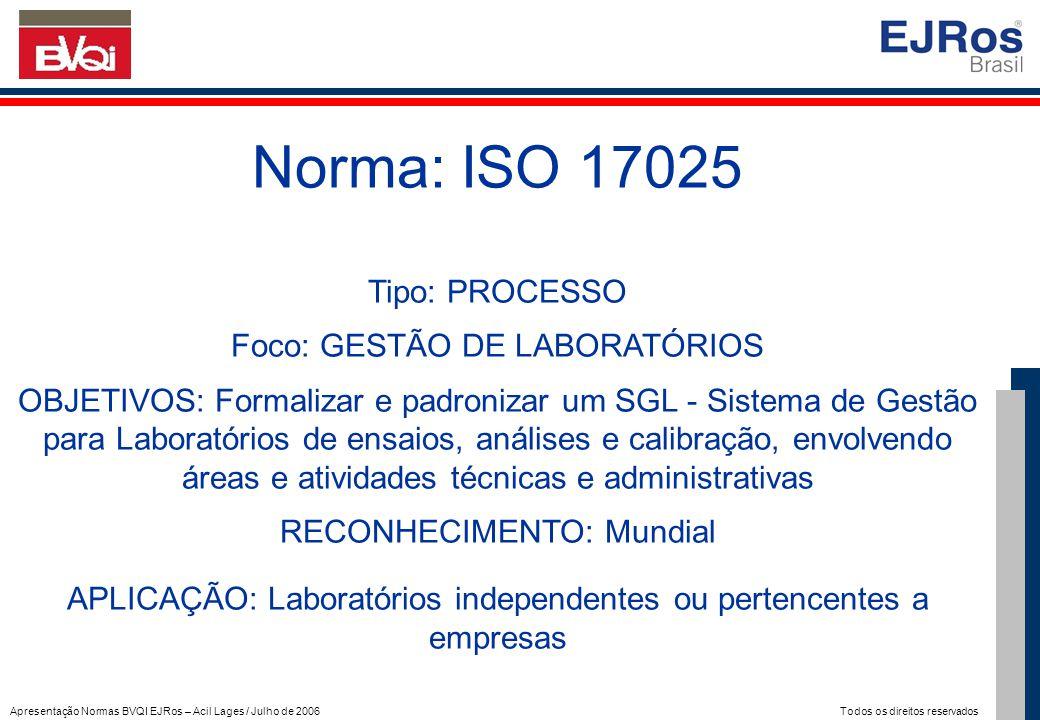 Norma: ISO 17025 Tipo: PROCESSO Foco: GESTÃO DE LABORATÓRIOS