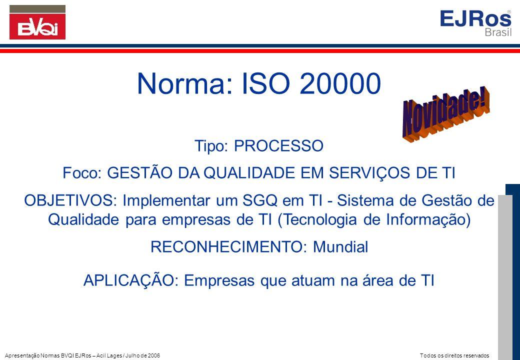 Norma: ISO 20000 Novidade! Tipo: PROCESSO