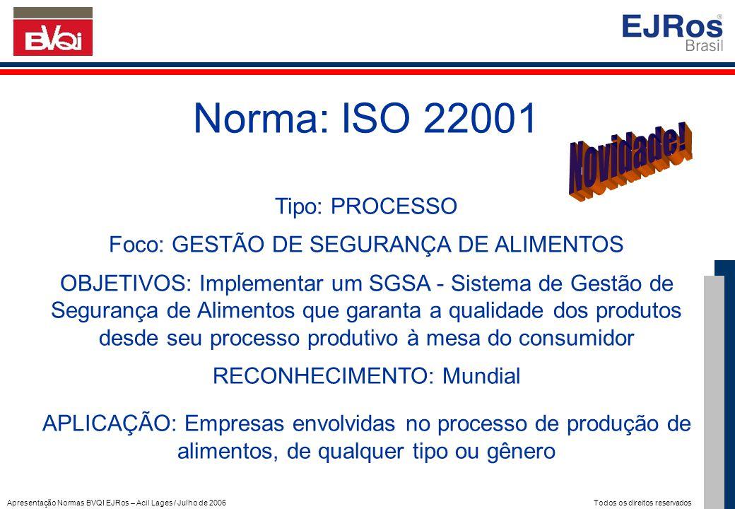 Norma: ISO 22001 Novidade! Tipo: PROCESSO