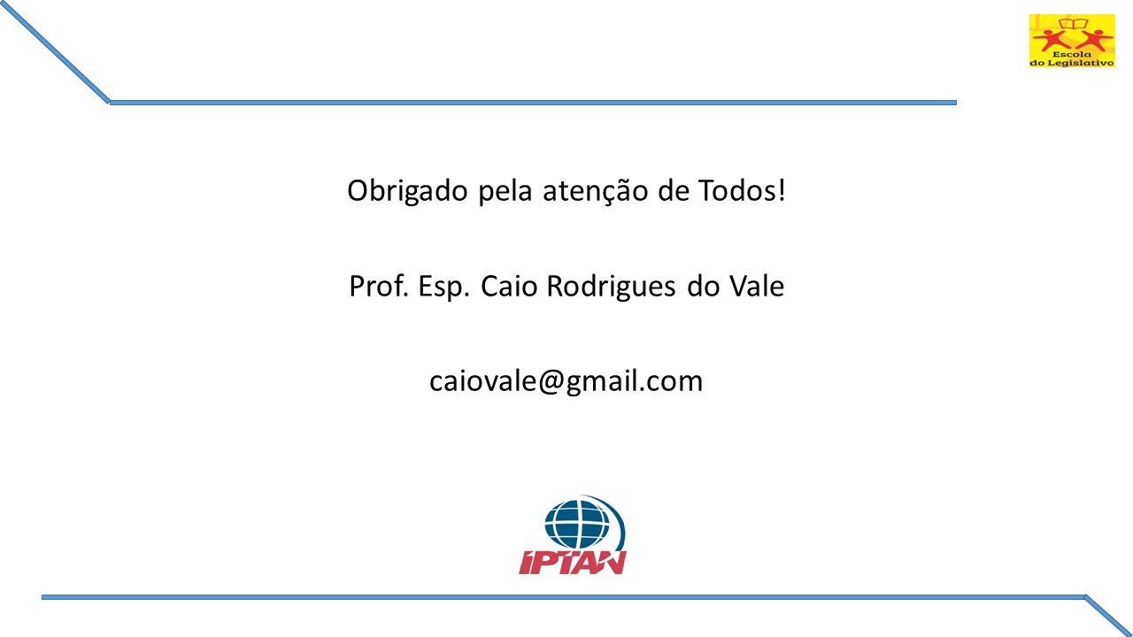 Obrigado pela atenção de Todos! Prof. Esp. Caio Rodrigues do Vale
