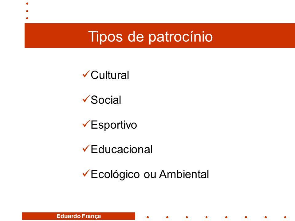 Tipos de patrocínio Cultural Social Esportivo Educacional