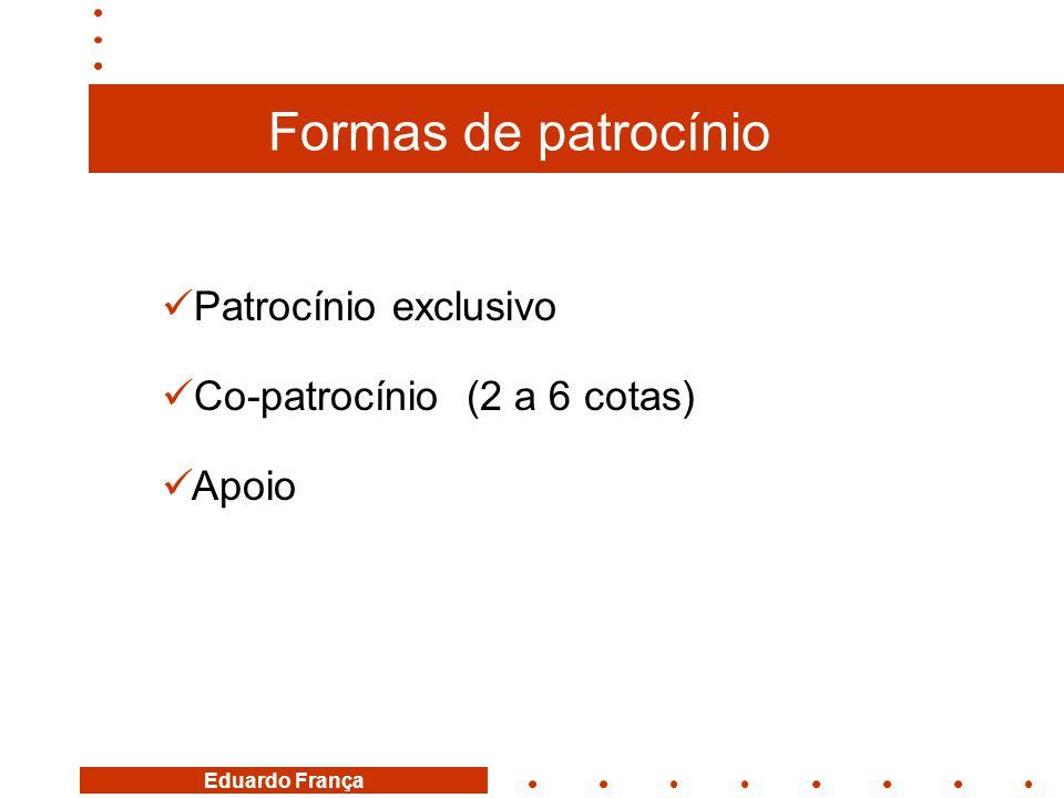 Formas de patrocínio Patrocínio exclusivo Co-patrocínio (2 a 6 cotas)