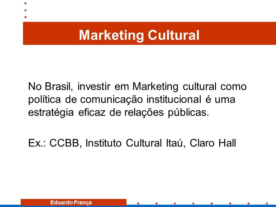 Marketing Cultural No Brasil, investir em Marketing cultural como política de comunicação institucional é uma estratégia eficaz de relações públicas.