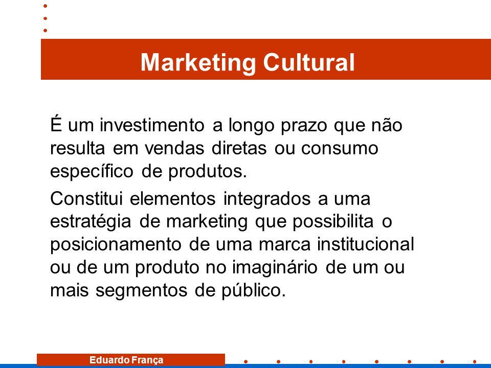 Marketing Cultural É um investimento a longo prazo que não resulta em vendas diretas ou consumo específico de produtos.