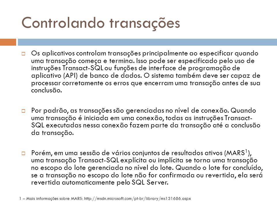 Controlando transações
