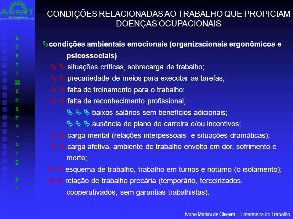 CONDIÇÕES RELACIONADAS AO TRABALHO QUE PROPICIAM DOENÇAS OCUPACIONAIS
