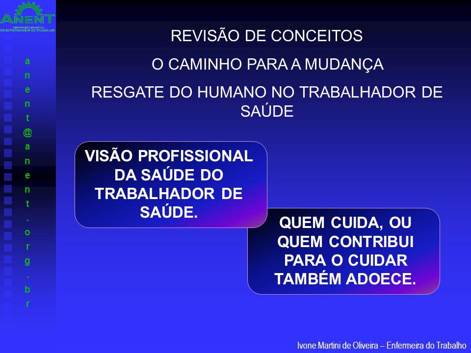 VISÃO PROFISSIONAL DA SAÚDE DO TRABALHADOR DE SAÚDE.
