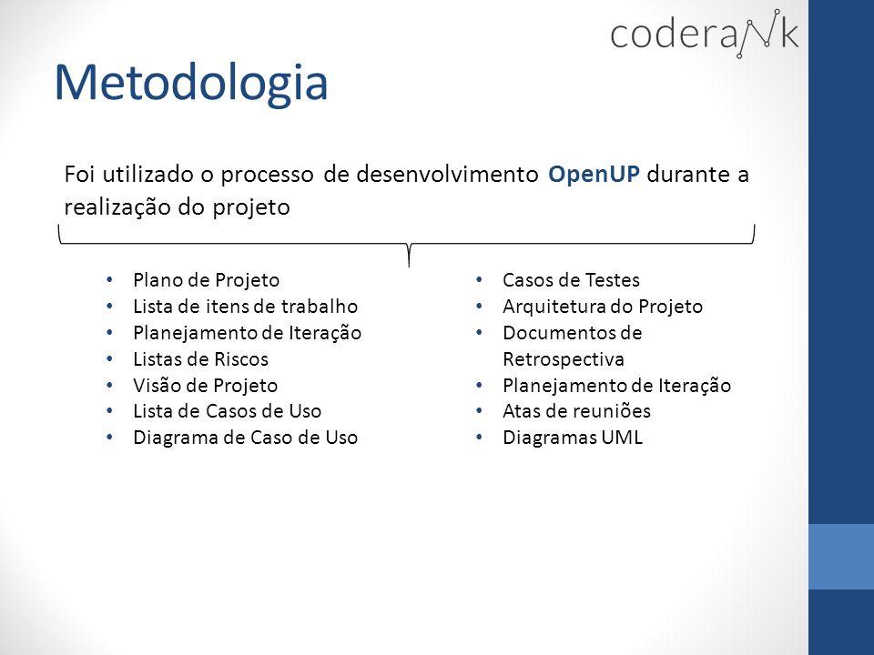 Metodologia Foi utilizado o processo de desenvolvimento OpenUP durante a realização do projeto. Plano de Projeto.
