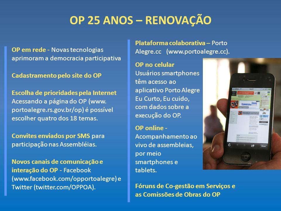 OP 25 ANOS – RENOVAÇÃO Plataforma colaborativa – Porto Alegre.cc (www.portoalegre.cc).
