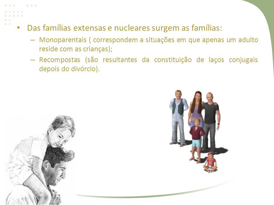 Das famílias extensas e nucleares surgem as famílias: