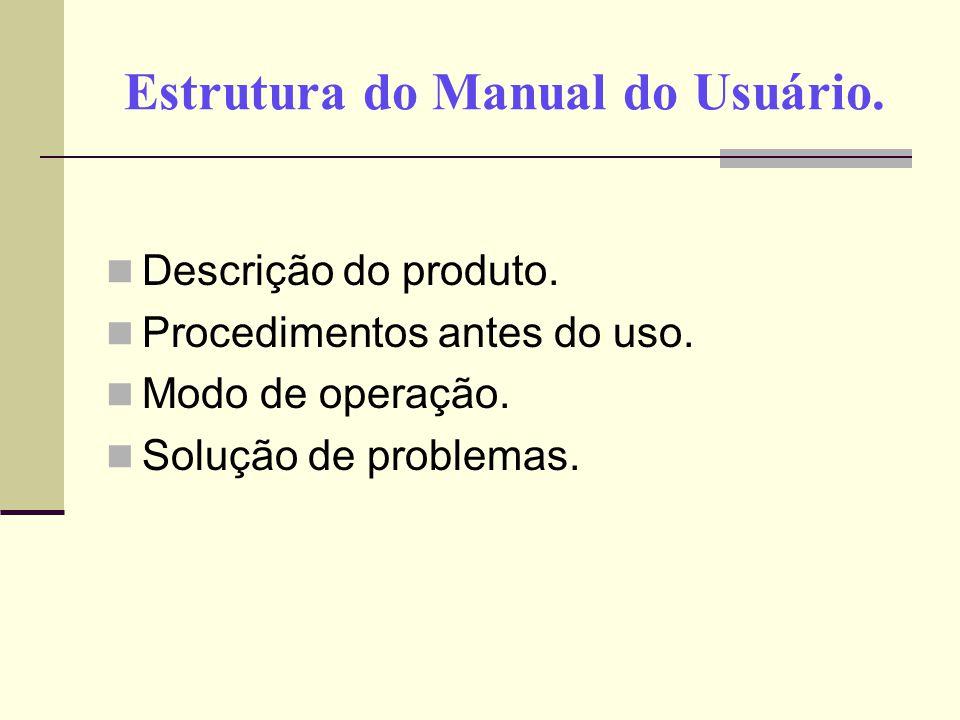 Estrutura do Manual do Usuário.