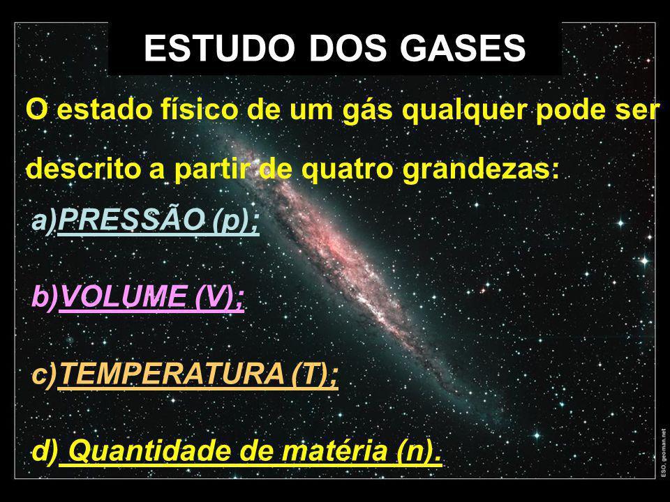 ESTUDO DOS GASES O estado físico de um gás qualquer pode ser descrito a partir de quatro grandezas:
