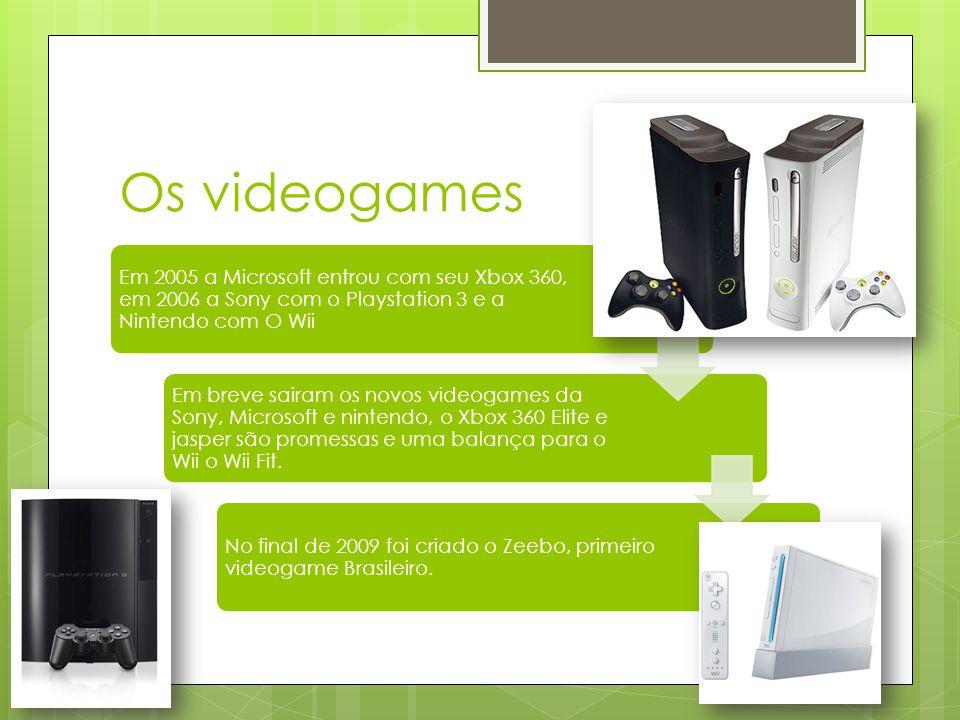 Os videogames Em 2005 a Microsoft entrou com seu Xbox 360, em 2006 a Sony com o Playstation 3 e a Nintendo com O Wii.