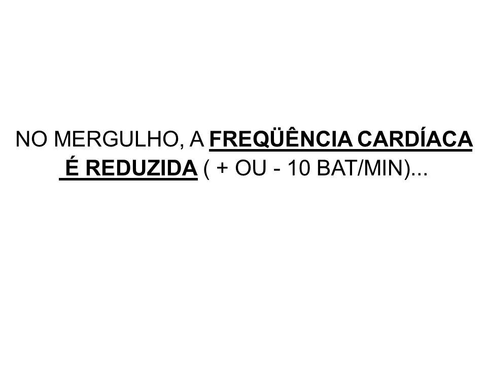 NO MERGULHO, A FREQÜÊNCIA CARDÍACA É REDUZIDA ( + OU - 10 BAT/MIN)...