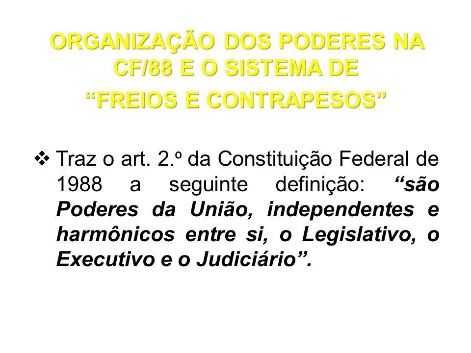 ORGANIZAÇÃO DOS PODERES NA CF/88 E O SISTEMA DE FREIOS E CONTRAPESOS