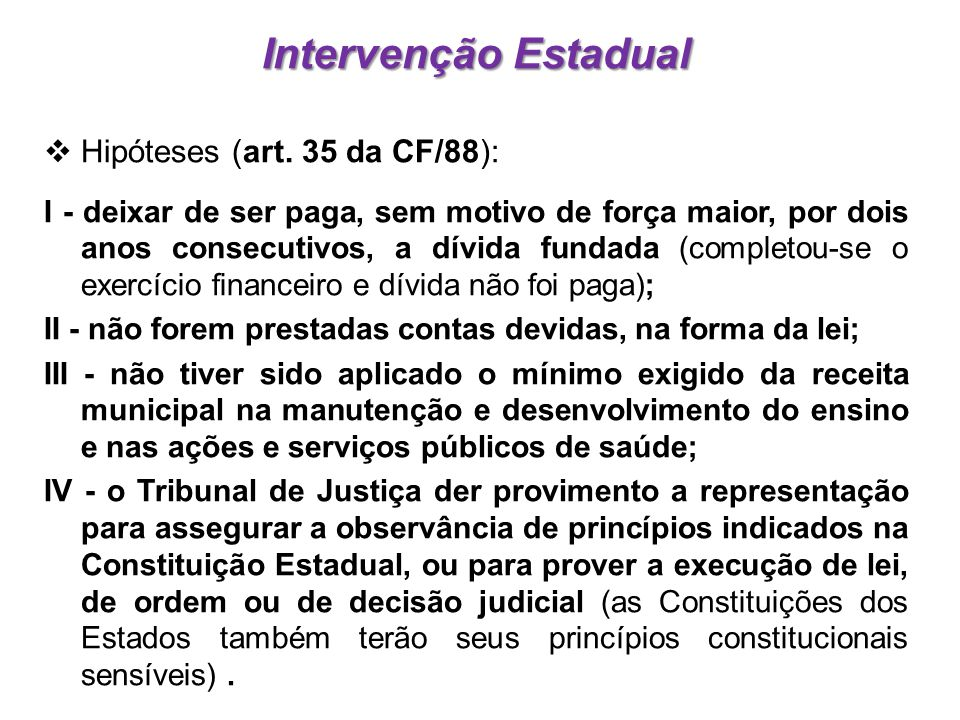 Intervenção Estadual Hipóteses (art. 35 da CF/88):