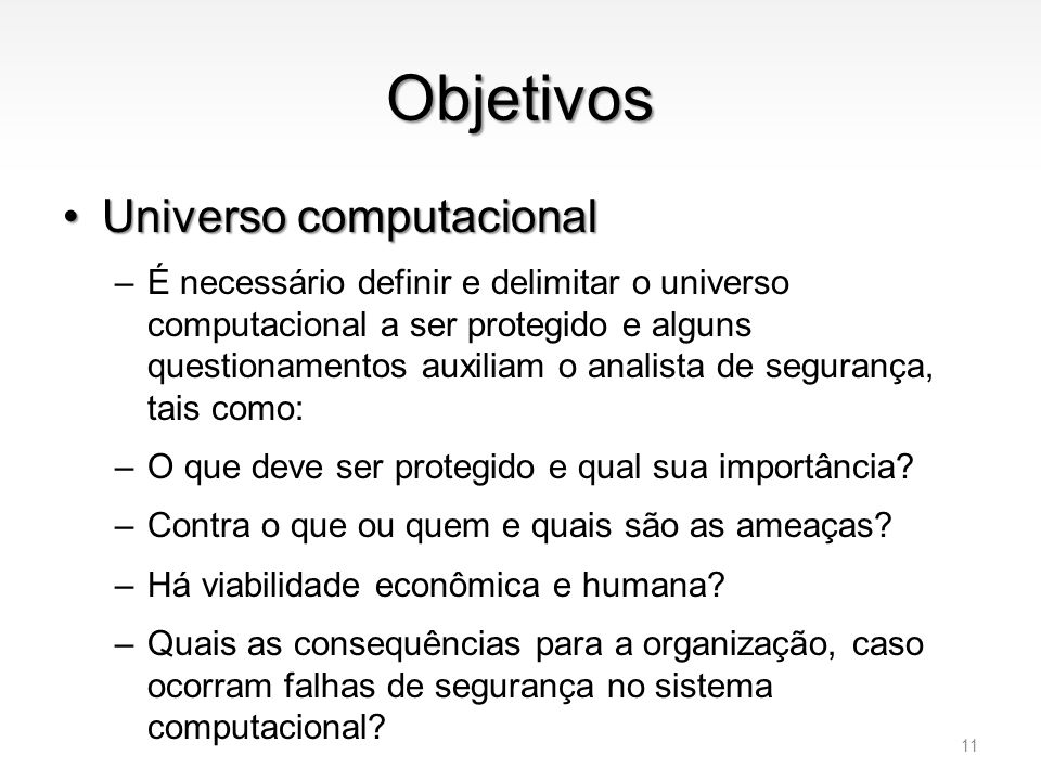 Objetivos Universo computacional