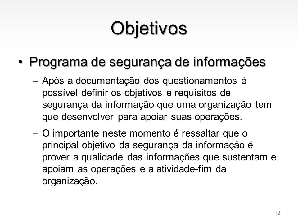 Objetivos Programa de segurança de informações