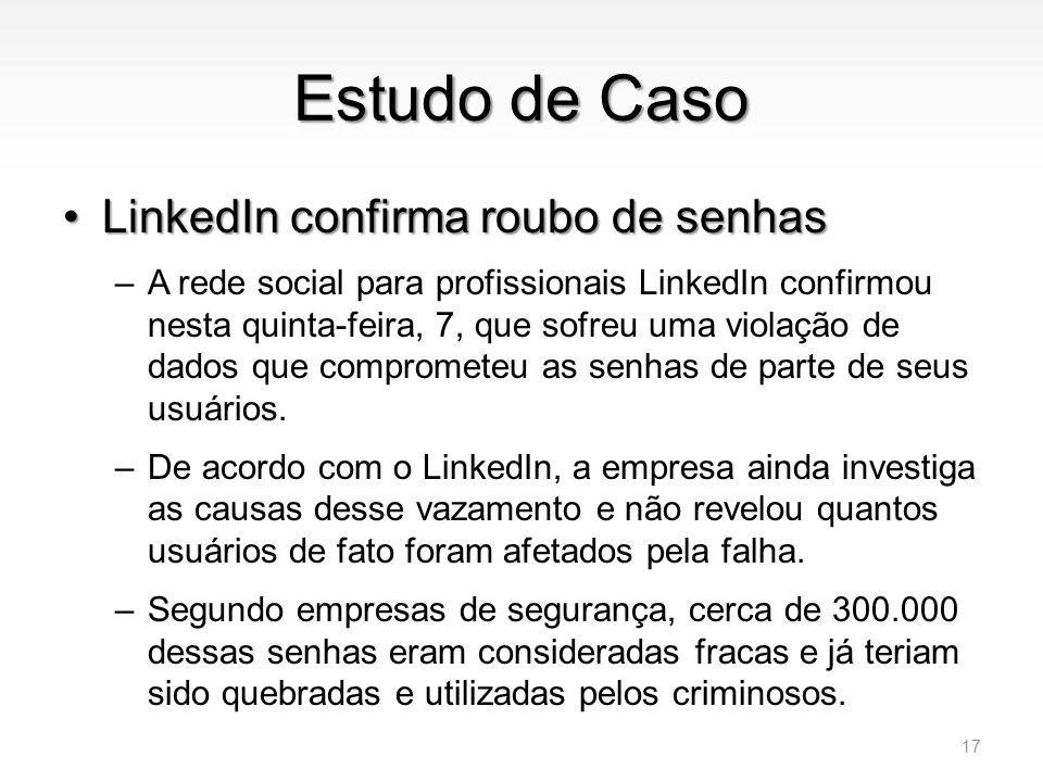 Estudo de Caso LinkedIn confirma roubo de senhas