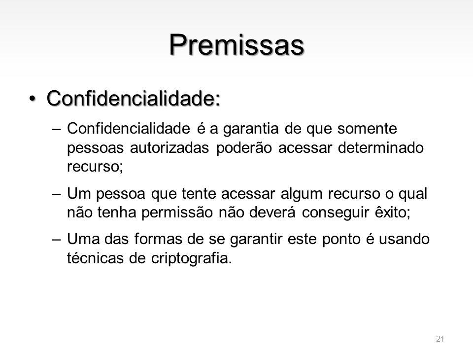 Premissas Confidencialidade: