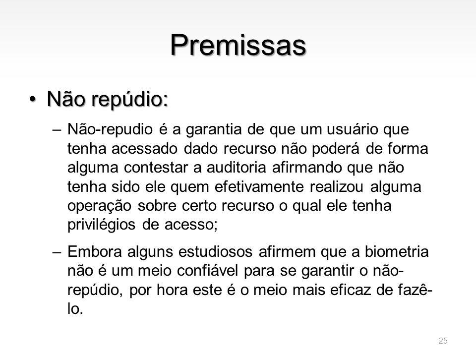 Premissas Não repúdio: