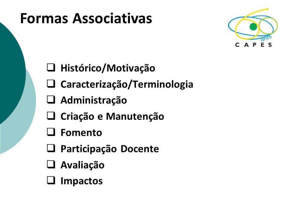 Formas Associativas Histórico/Motivação Caracterização/Terminologia