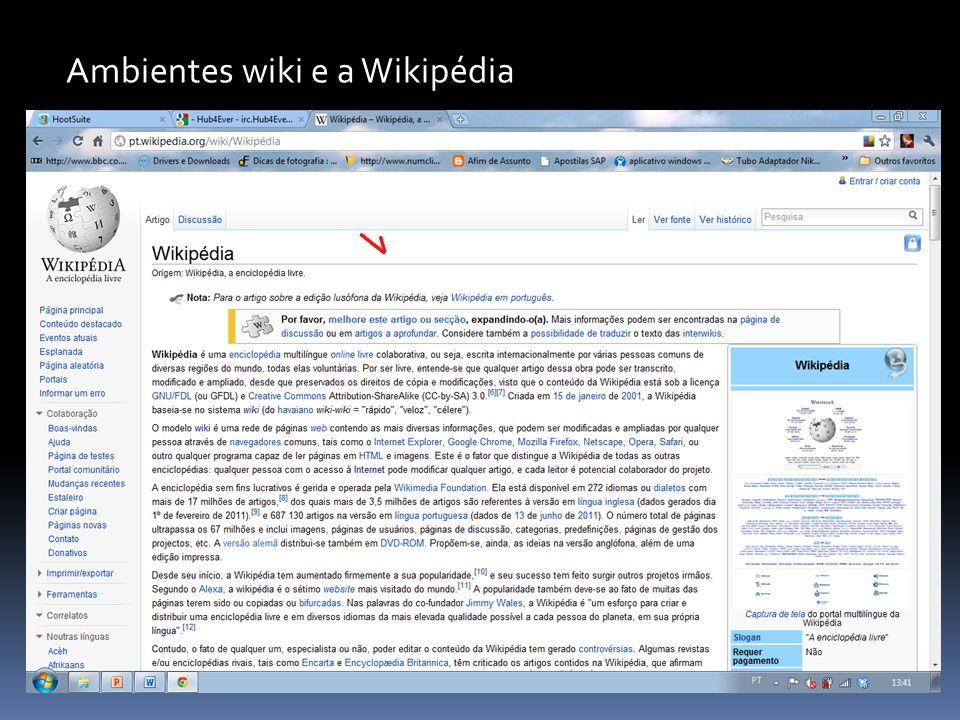 Ambientes wiki e a Wikipédia