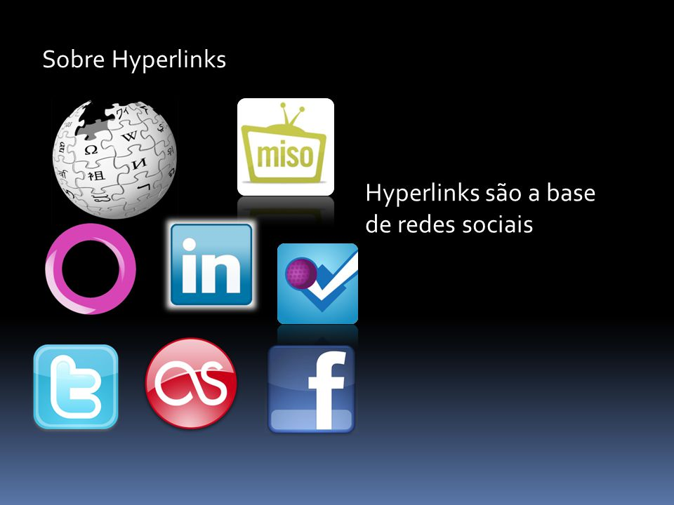 Sobre Hyperlinks Hyperlinks são a base de redes sociais