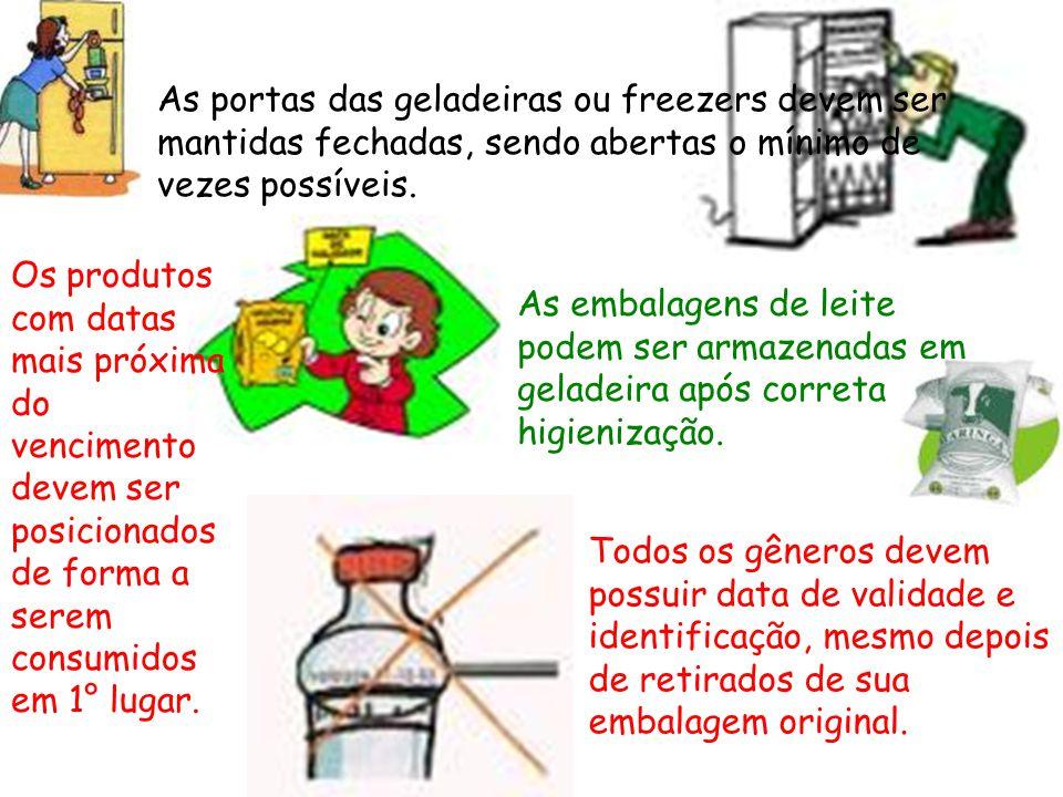 As portas das geladeiras ou freezers devem ser mantidas fechadas, sendo abertas o mínimo de vezes possíveis.