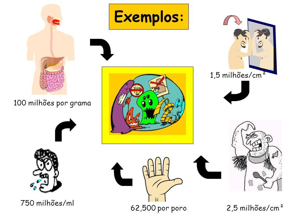 Exemplos: 1,5 milhões/cm² 100 milhões por grama 750 milhões/ml