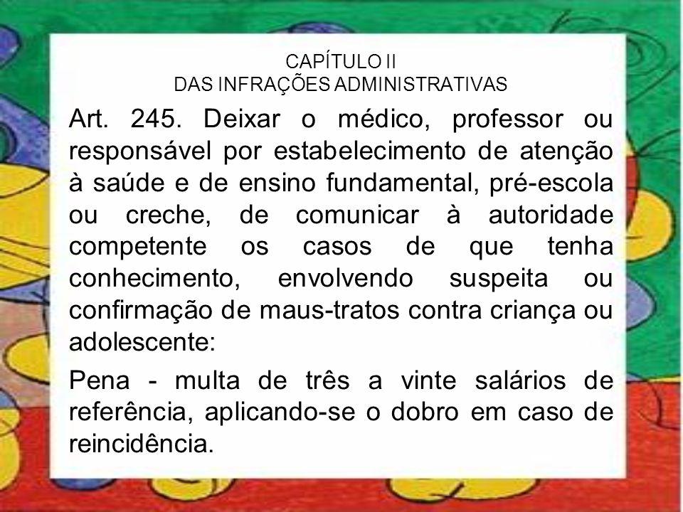 CAPÍTULO II DAS INFRAÇÕES ADMINISTRATIVAS