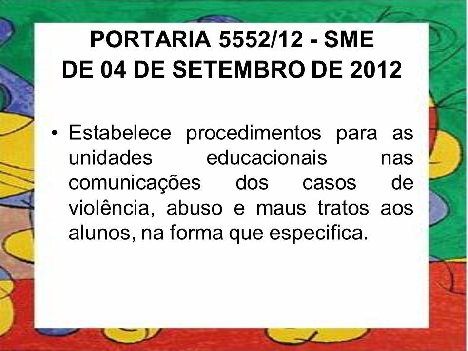 PORTARIA 5552/12 - SME DE 04 DE SETEMBRO DE 2012