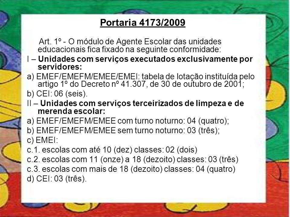 Portaria 4173/2009 Art. 1º - O módulo de Agente Escolar das unidades educacionais fica fixado na seguinte conformidade: